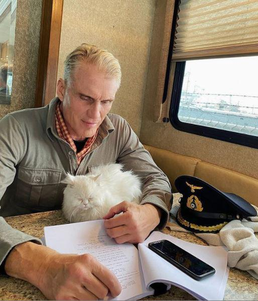 Dolph Lundgren and his cat