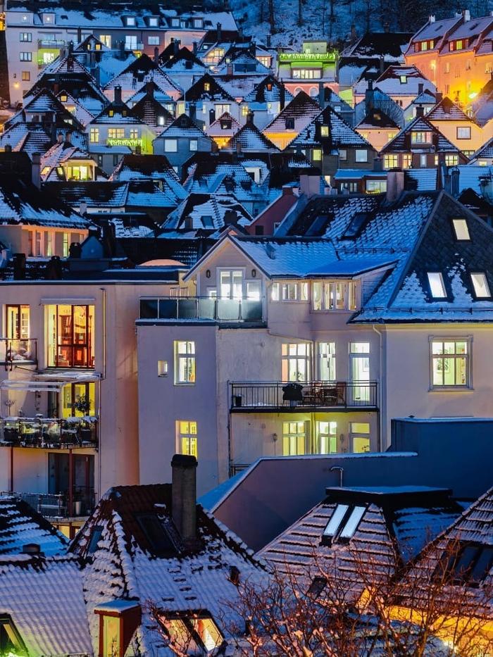 Вечерние дома Бергена, Норвегия