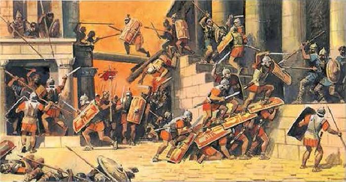 Римляне штурмуют Карфаген. Иллюстрации из советского учебника истории