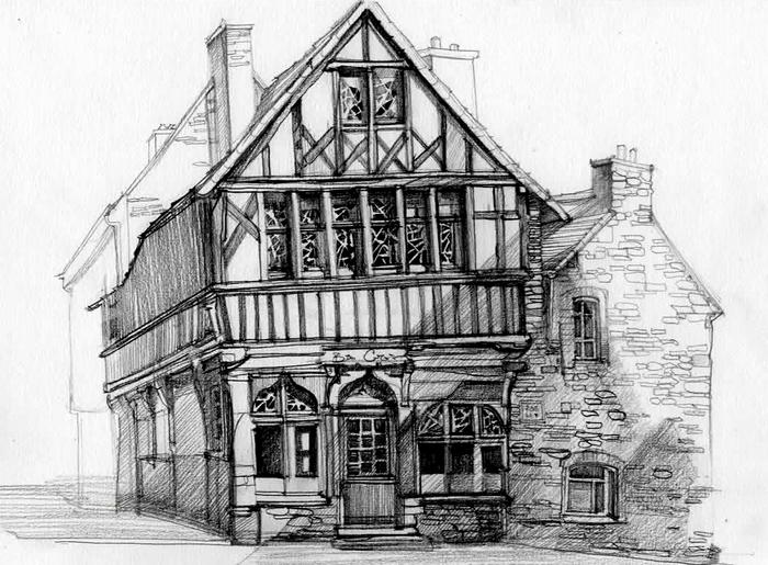 Дом, карандашный рисунок