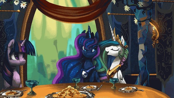 Ответ на пост «Ужин» My Little Pony, Princess Luna, Princess Celestia, Twilight Sparkle, Alumx, Анимация, Гифка, Ответ на пост, Equum Amici