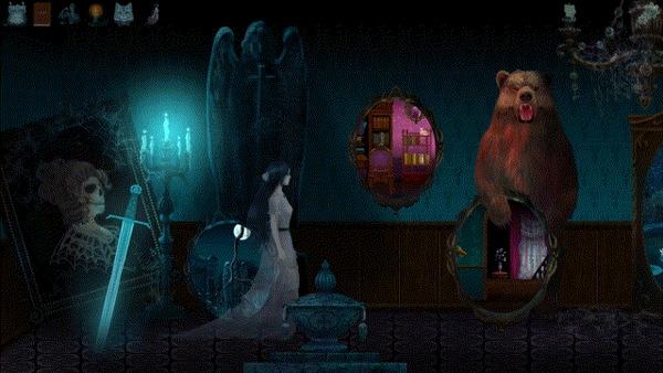 """Викторианский мистический детектив про призрачных девушку и кошку: """"Detective From The Crypt"""" Indiedev, Gamedev, Арт, Point and click, Game Art, 2D, 2D игры, Инди, Гифка, Длиннопост"""