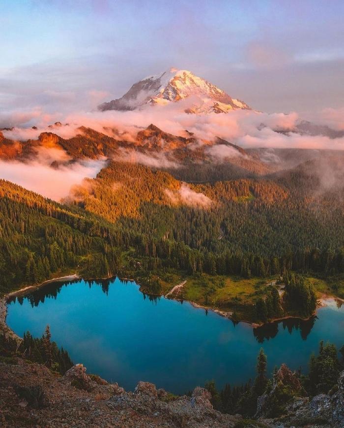 Штат Вашингтон, США Фотография, США, Вашингтон, Природа, Горы, Красота, Красота природы, Лес, Облака, Озеро