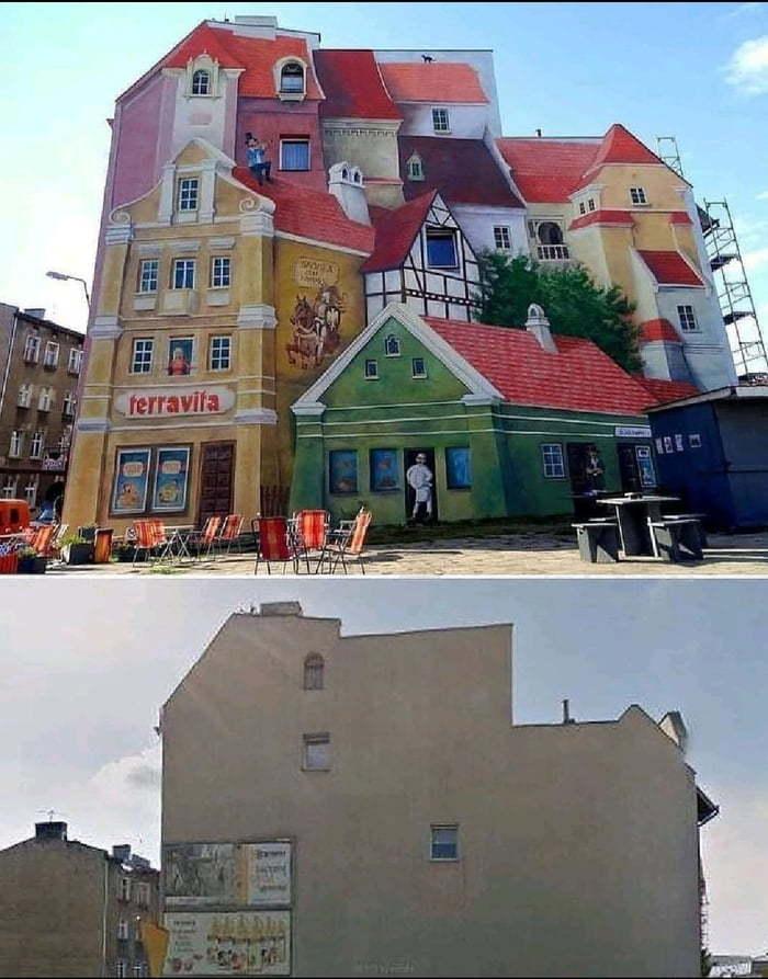 Красиво раскрасили стену