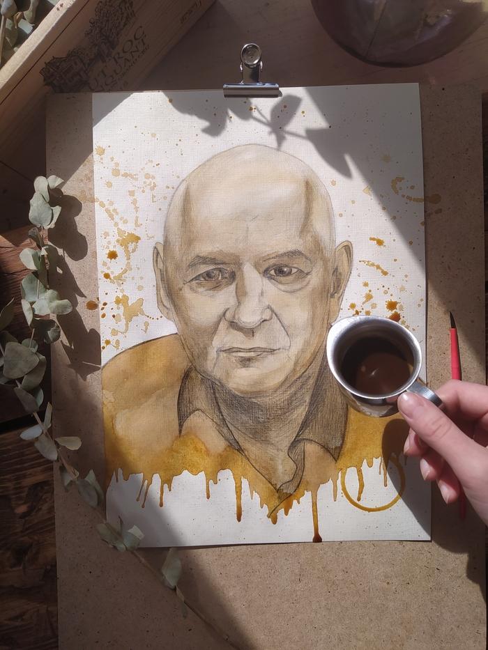 Портрет карандашом и кофе