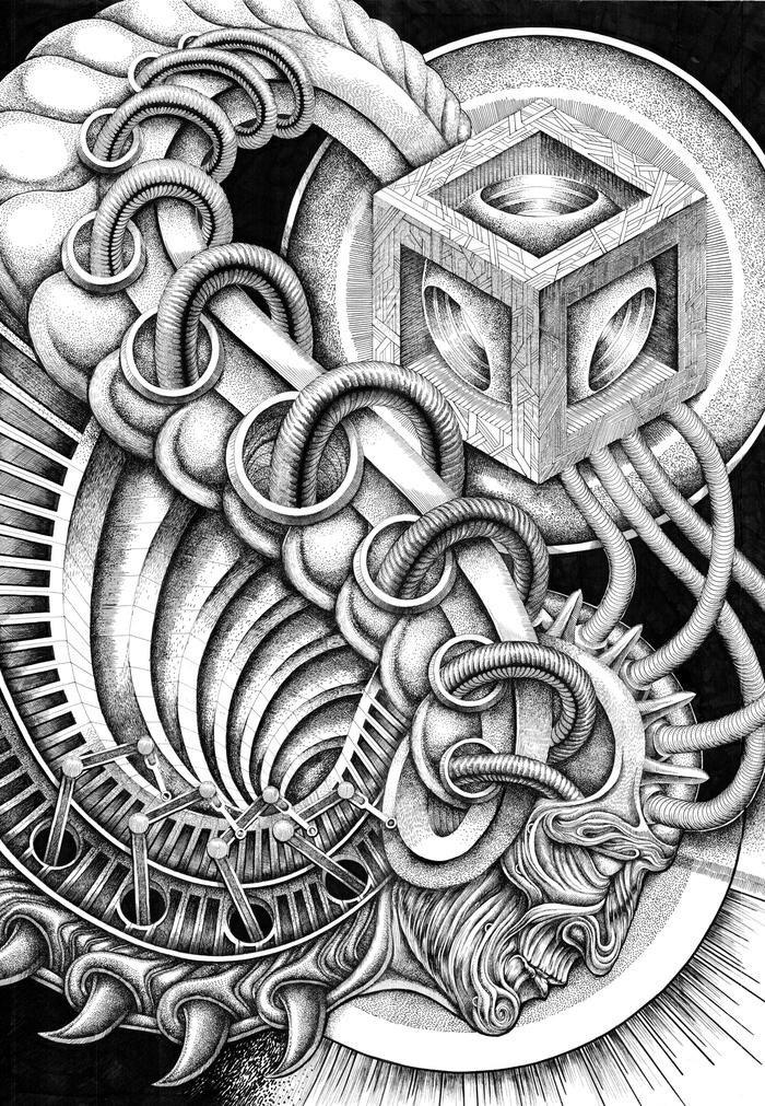 Тайное знание Графика, Ручная работа, Арт, Художник, Картина, Рисунок, Киберпанк, Длиннопост, Творчество, Фантастика