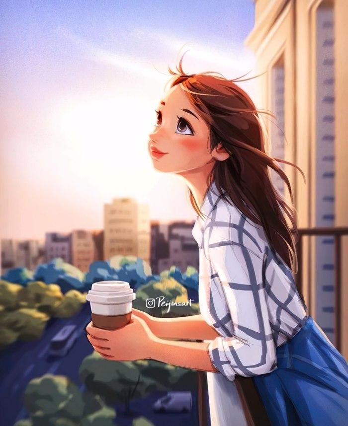 В своих мечтах Арт, Рисунок, Девушки, Кофе, Peijin Yang