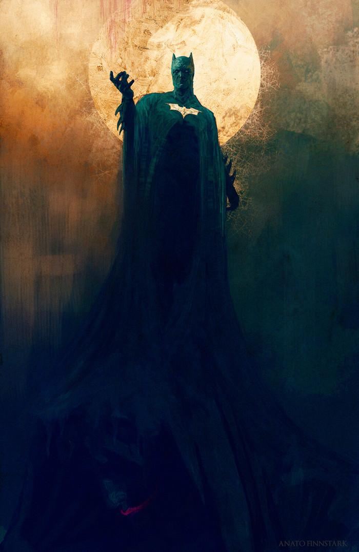 Бэтмен Арт, Картинки, Бэтмен, Луна, DC Comics, Anato Finnstark