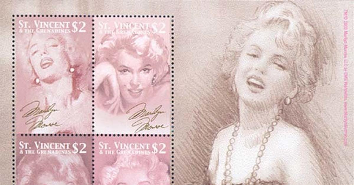 """Мэрилин Монро на почтовых марках (LXXIV) Цикл """"Великолепная Мэрилин"""" - 523 выпуск"""