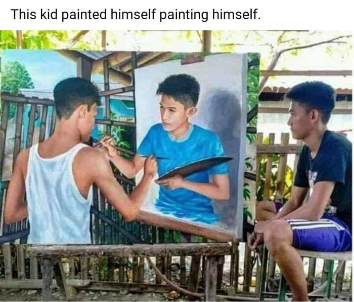 Парень нарисовал на картине себя, рисующего себя