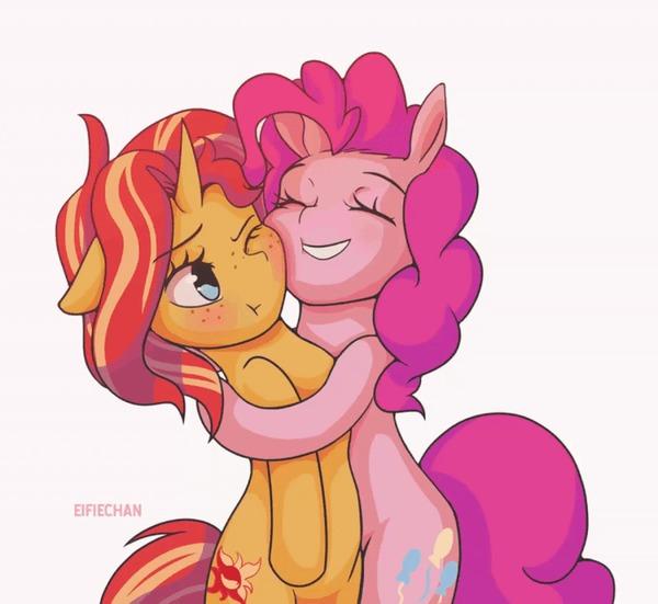 Трутся My Little Pony, Pinkie Pie, Sunset Shimmer, Гифка, Eifiechan